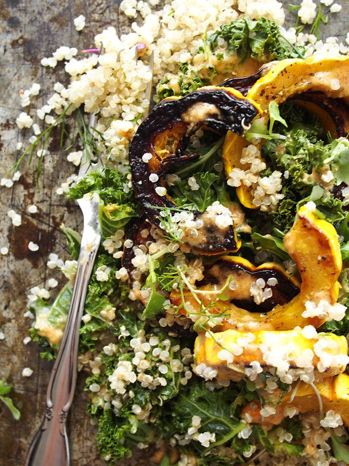 Kale, Delicata, Dill Quinoa Salad with Spicy Almond Butter Dressing ...
