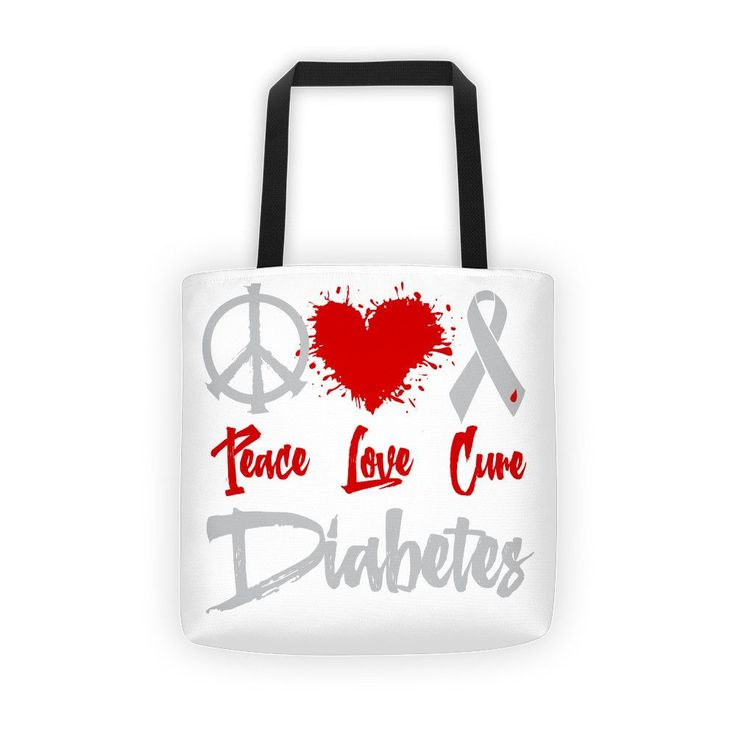 Peace, Love, Cure Diabetes Tote bag