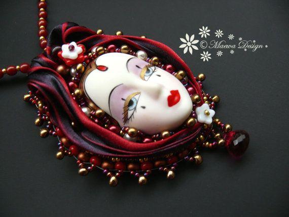 Bead embroidered Pendant necklace Shibori silk by MaewaDesign, €62.00