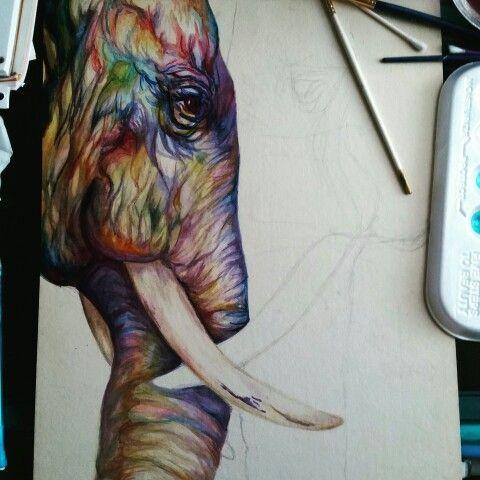 Progress of watercolor elephant expression :)
