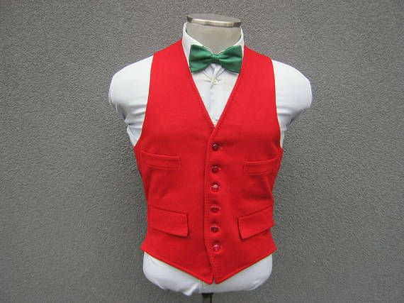 1970s Vintage Red Wool Vest / Vest Outfits Men / All Wool