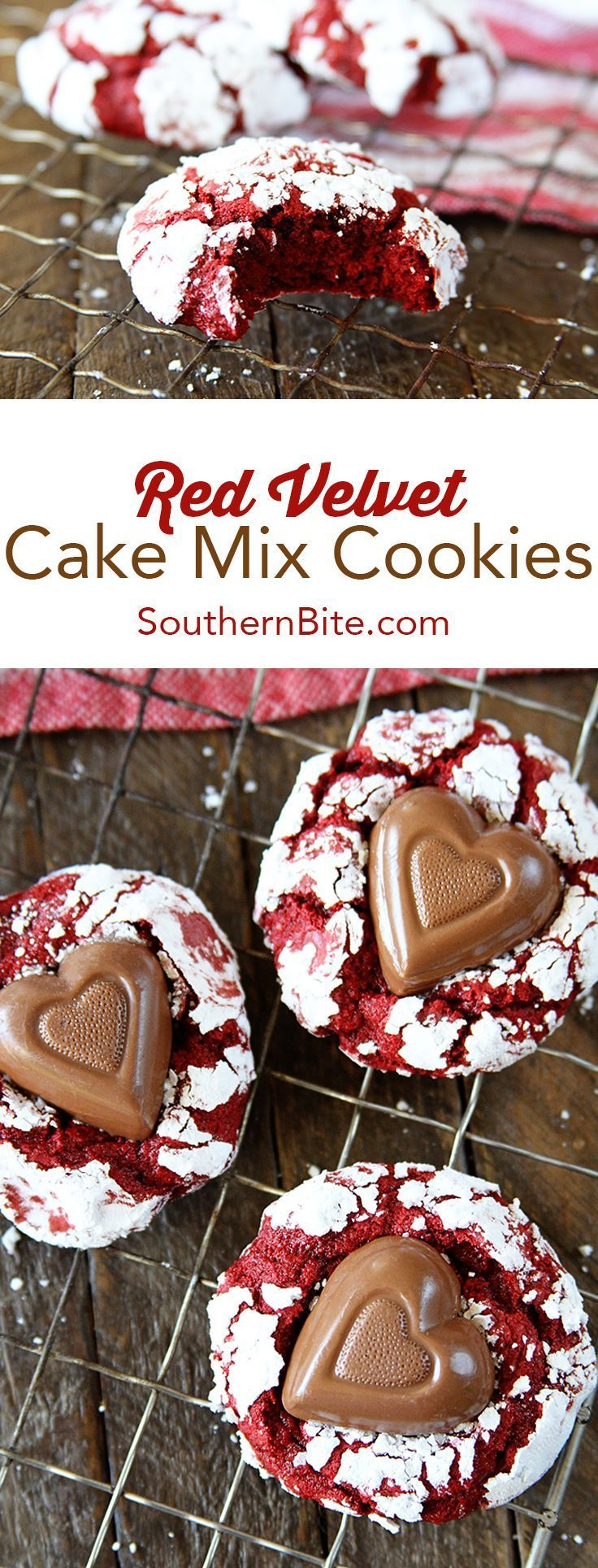 With only 4 ingredients, these Red Velvet Cake Mix Cookies are easier than you think. They're pillowy perfection! #easy #recipes #valentinesday #redvelvet #cake