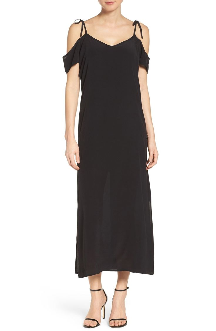 NSR Tie Cold Shoulder Midi Dress available at #Nordstrom