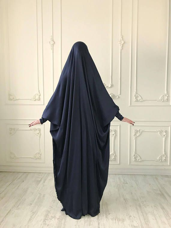 Navy blue Long Silk #muslim , Elegant green #muslim dress, #burqa ,Dubai #abaya , traditional #hijab ,ready to wear #hijab , long #jilbab , long burqa