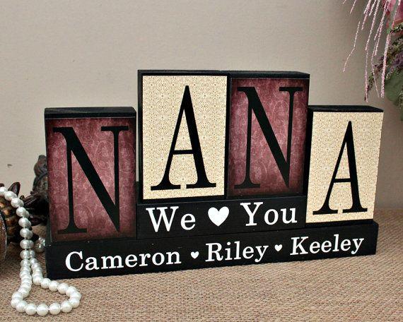 Personalized Gift For Nana, Christmas Gift Idea, Nana Wood Blocks, Handmade Gifts for Her, Mom Birthday Gift, Nana Gift from Grandkids