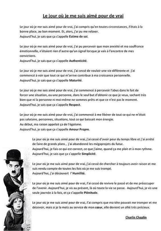 Citation Le jour où je me suis aimé pour de vrai...Charlie Chaplin: