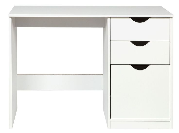 White Desk Study Table 3 Drawers Storage Shelves Girl Boy Bedroom Home  Office UK