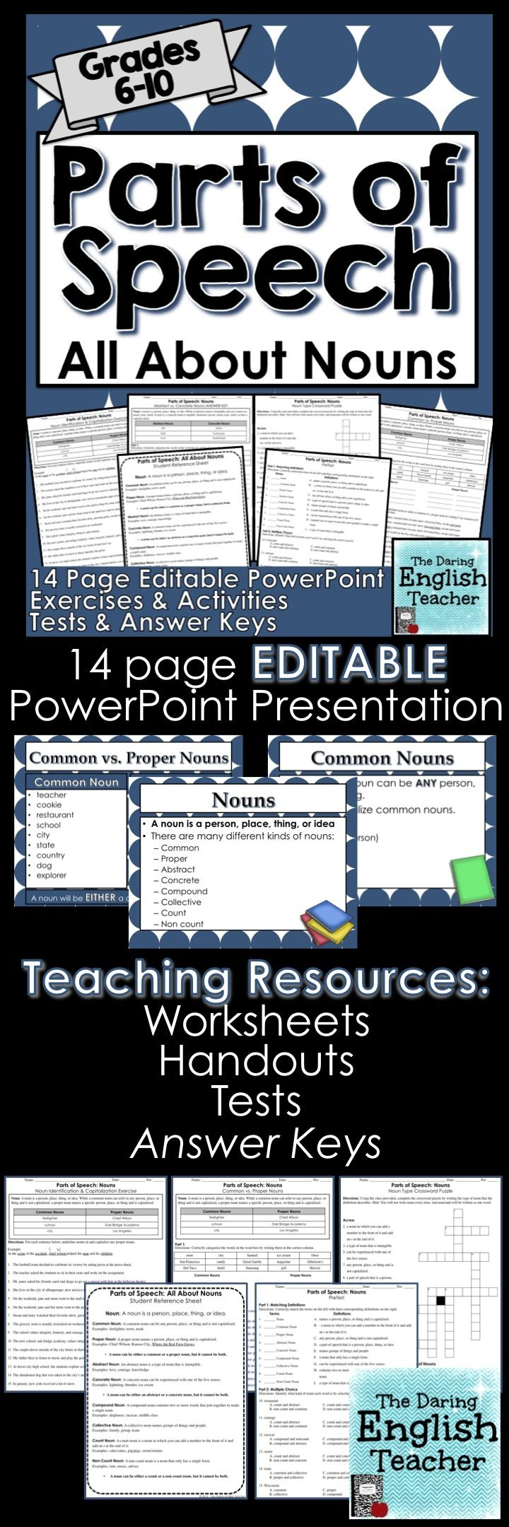 Teach your secondary students about nouns and all of their differences with this editable PowerPoint and lesson! Teaching high school English. Teaching middle school English. Grammar lesson. Teaching grammar.
