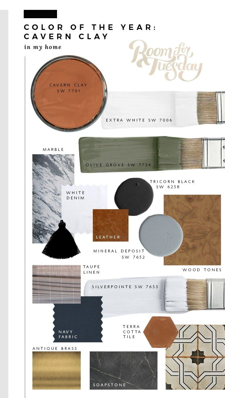 Homedecor fashion trends interiordesign tips moodboards mood boards paintcolors colors cavernclay 2019 click for more info sherwin williams