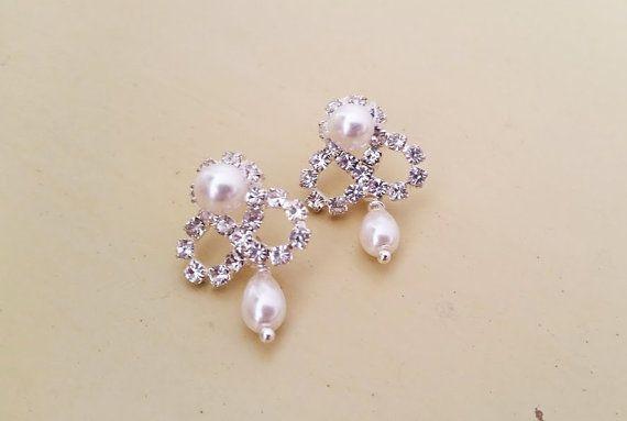 A goccia perla nuziale, nozze orecchini strass fiocco borchie, perla a orecchini, orecchini da sposa d