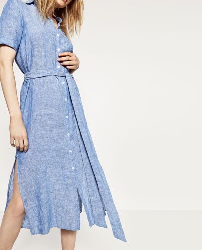 Image 2 of LINEN SHIRT DRESS from Zara