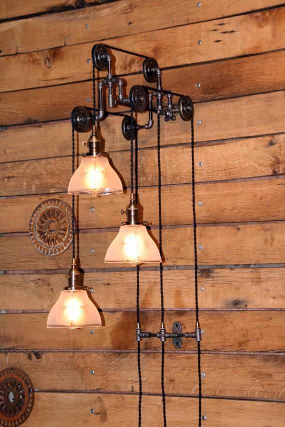 Industrial Triple Trolley Pulley Wall Mount Light with 3 Frosted Glass Pendants