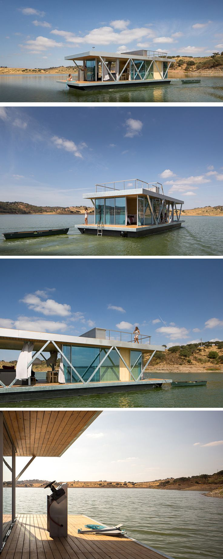 "A company in Portugal called ""Friday,"" have designed Floatwing, a houseboat that can be shipped all over the world in two standard shipping containers."