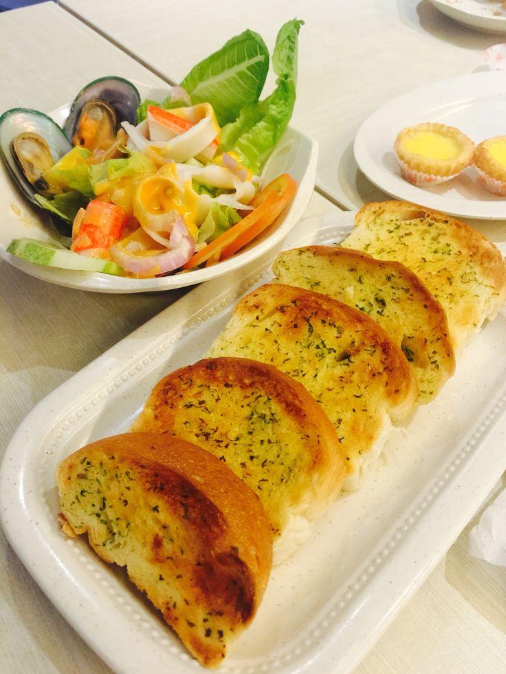 Garlic toast & Seafood salad in Malaysia