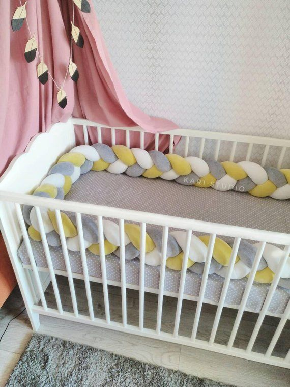 Baby Bedding Mother & Kids Humor Baby Bed Bumper Knot Design Pure Color Weaving Plush Baby Crib Pad Protector For Newborns Baby Room Decoration 200cm Length