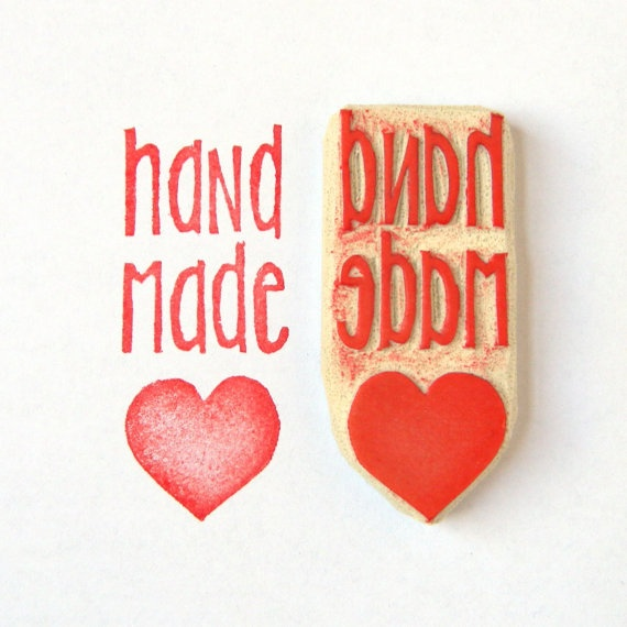 Handmade Love Rubber Stamp  Hand Carved Stamp by creatiate on Etsy, $12.00