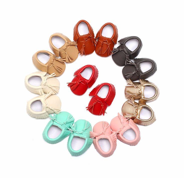 2016 New Lace-up Tassel 8 colors PU Leather Infant First walker Toddler Moccasins Soft  Moccs Girls Boys Kids Shoes