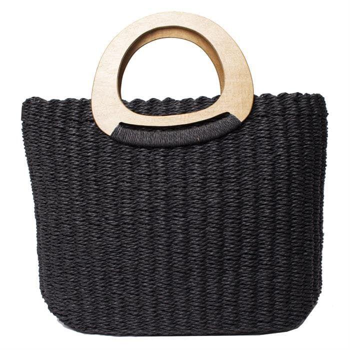 Handmade Crocheted Paper Straw Tote Handbag With Wooden Handles Straw Tote Tote Handbags Tote