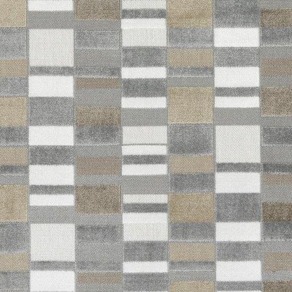 Silver Gold Velvet Upholstery Fabric - Grey Geometric Cut Velvet Fabric for Furniture - Contemporary Gold Silver Velvet Pillow Covers Online