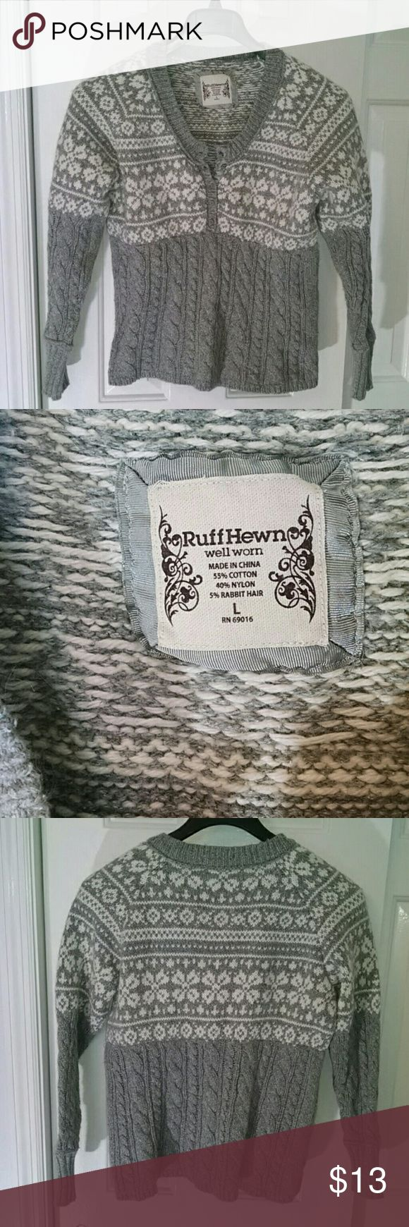 Ruff Hewn Light Gray w/ White button sweater Ruff hewn light grey and white sweater cable Stitch on Lower portion and arms. 6 buttons from chest to neck line. Blend of cotton nylon and rabbit hair. Ruff Hewn Sweaters Crew & Scoop Necks