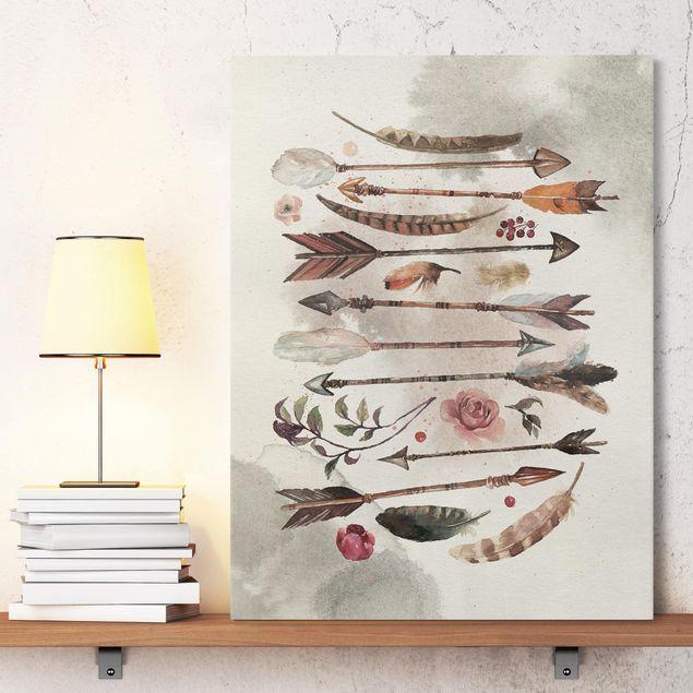 leinwandbild boho pfeile und federn aquarell hochformat 4 3 leinwandbilder leinwand wandbilder auf foto drucken 60x30