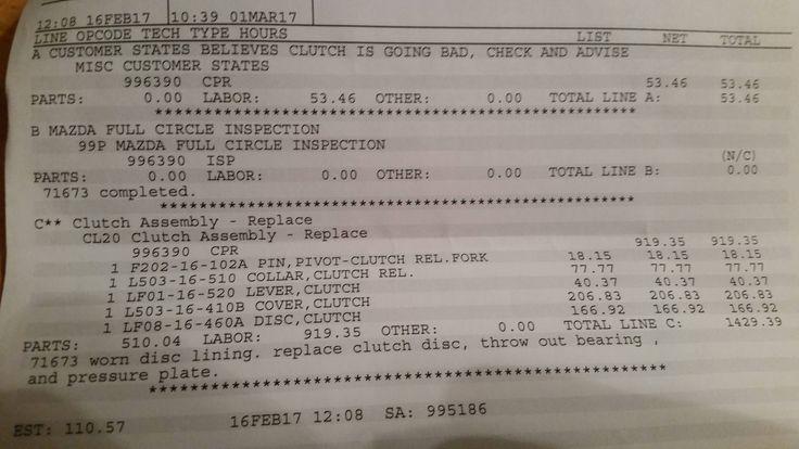 2011 mazda 3 hatch 2.5L replacement clutch 9 hours of labor? Did they screw over my gf? #Mazda #mx5 #miata #Roadster #eunos #TopMiata #cars #car