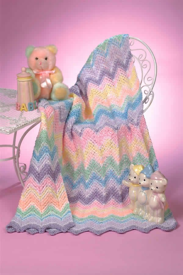 Free Beginner Crochet Ripple Baby Blanket Pattern : 261 best Crochet Baby Blankets images on Pinterest