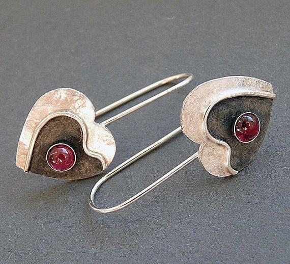 Sterling Silver Heart Earrings with Garnet EG7 by Kailajewellery, £34.00