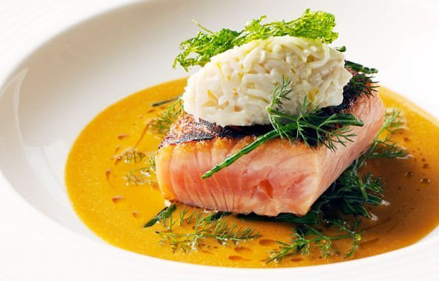 This sea trout recipe includes includes a wondrous crab sauce and a creamy crab mayonnaise - Nathan Outlaw is the chef behind the recipe