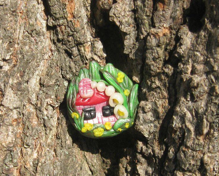 Купить Брошка - Домик, где живет весна!!! - ярко-зелёный, рисунок, природный, коричневый, серый