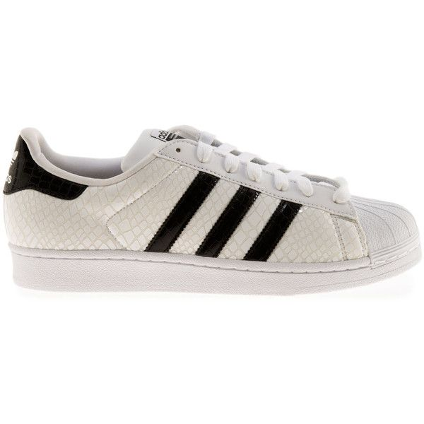 adidas The Superstar Snake Sneaker in White ($80) ❤ liked on Polyvore featuring men's fashion, men's shoes, men's sneakers and white
