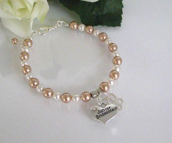 Pearl Flower Girl Bracelet-Flower Girl Bracelet-Champagne