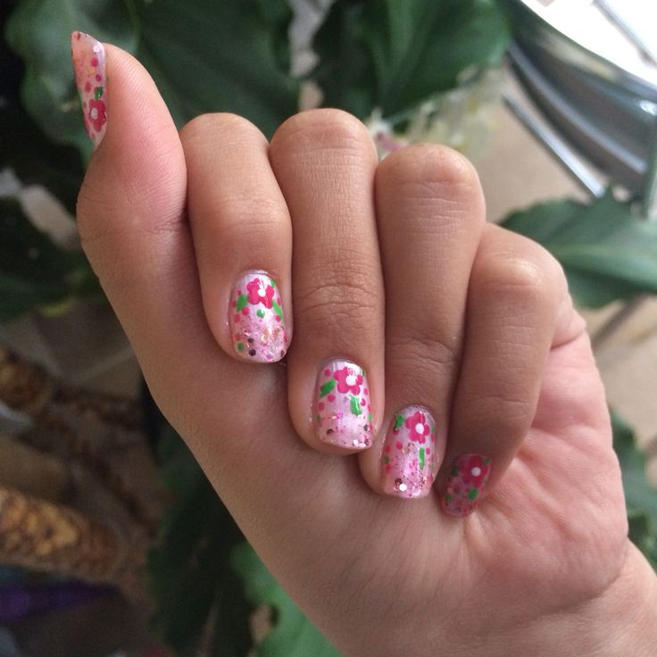 Flower on pink nail art - on Tania's nails