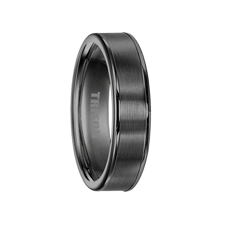 ALDEN Flat Brushed Center Black Tungsten Ring by Triton Rings - 6mm & 8mm