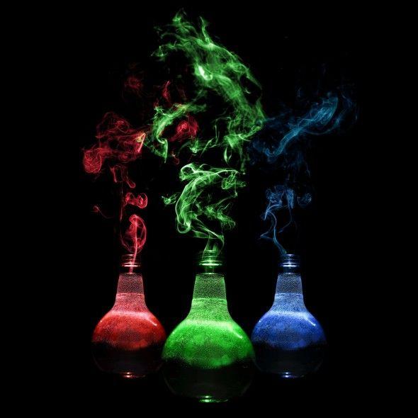 Smoking potion bottles