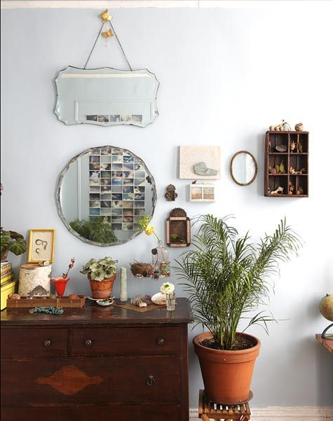 vintage bevelled mirrors...: Nicolette Owen's home ~ via design*sponge