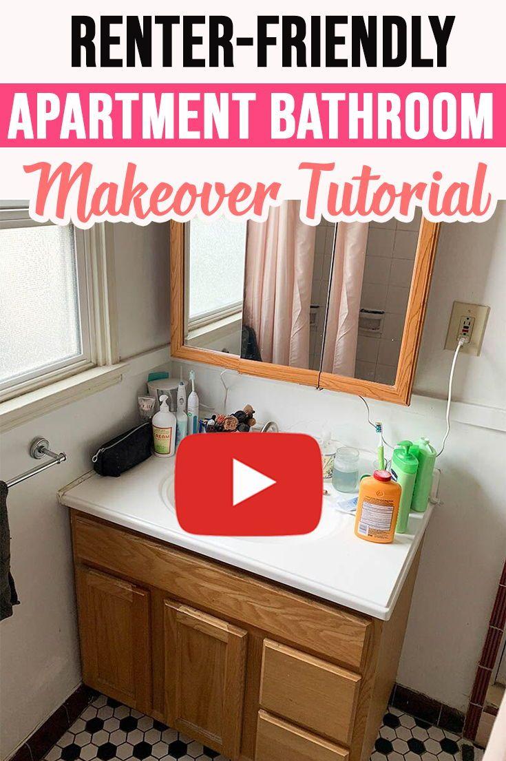 Easy Diy Viral Bathroom Makeover Rental Bathroom Decorating Bathroom Makeover Small Bathroom Decor
