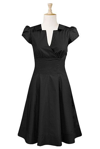 Surplice front cotton twill dress