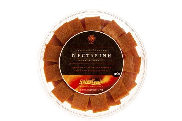 Platter Pieces - Nectarine..........Platter Pieces are bite sized squares of Solarfruit presented in a round, resealable container. These make the perfect addition to a cheese or fruit platter. Also a handy travelling pack which is easy to share. Flavour - Nectarine  Apricot won a Silver medal at the 2014 Royal Melbourne Fine Food Awards.Nectarine won a Bronze medal at the 2014 Royal Melbourne Fine Food Awards.   ** (no added sugar; citric acid added)