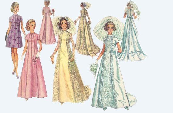 1969 1970s Style Wedding Dress A Line Pattern by TannaGail on Etsy