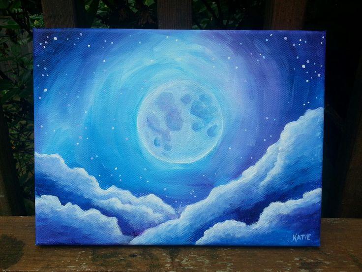 Full Moon Acrylic painting by Katie Clark