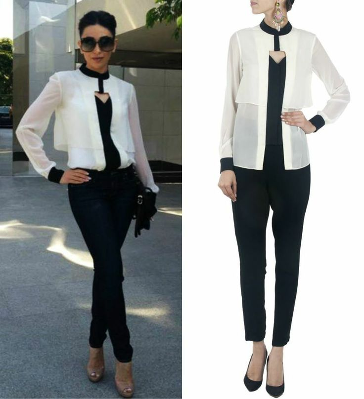 GET THIS LOOK: Karisma Kapoor looks chic in the off-white and black shirt by Selvage.
