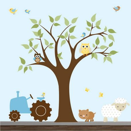 Colorful Farm Animals Cartoon Wall Stickers Murals for Kids Playroom Decoration Design Ideas