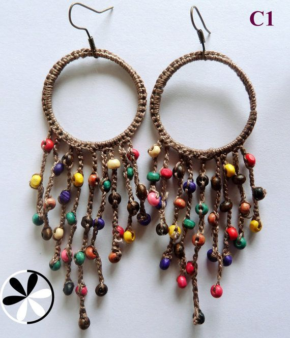 CHANDELIER COTTON CROCHET Earrings with multi-color wooden beads. €11.00, via Etsy.: