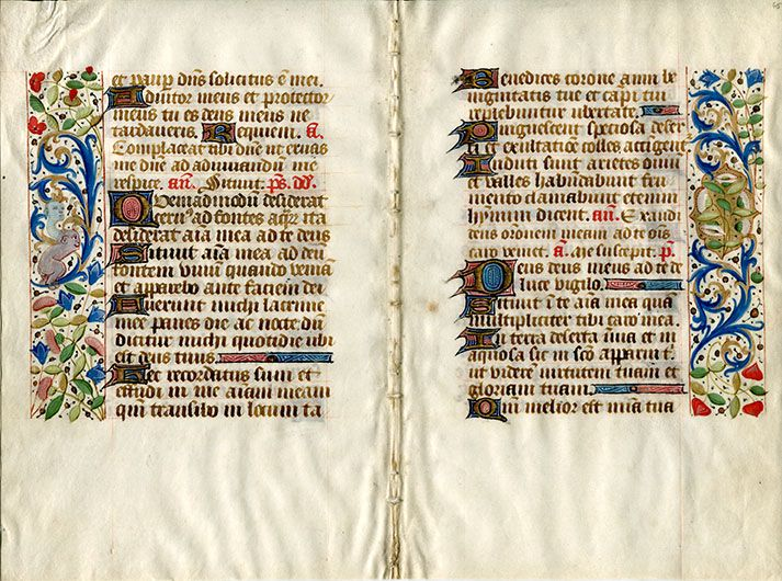 Object 5, possibly 15th century French illuminated manuscript page, as can be seen on display in the GSA Library. Could match register number '14-175 in inventory. Archival reference: GSAA/EPH/11/3/2