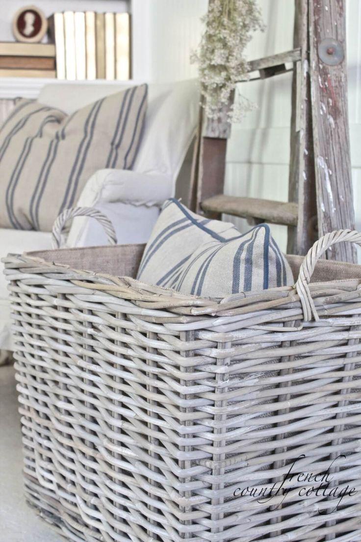 Simple White Wicker Storage Basket