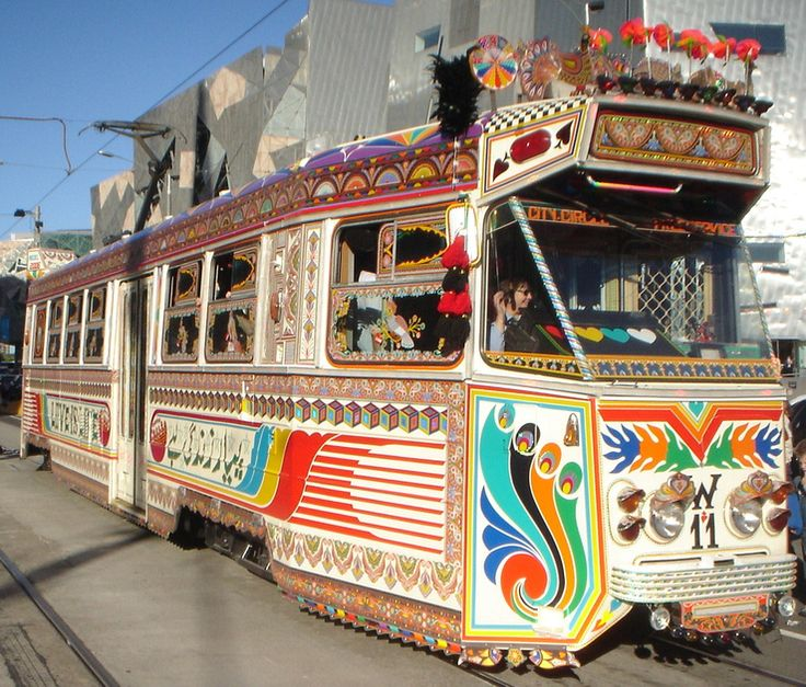 Cool art project of a Melbourne tram decorated as a Karachi bus
