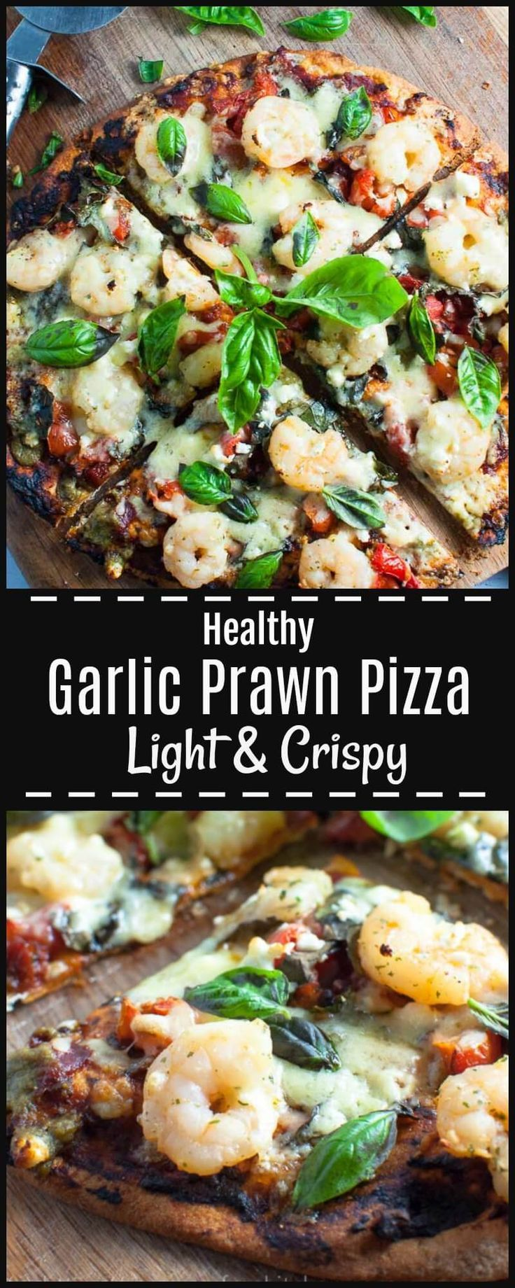 Garlic Prawn Pizza with crispy, crunchy base with tangy sundried tomato pesto and tomato paste, with juicy garlic butter prawns, basil and fetta, & a touch of basil pesto.