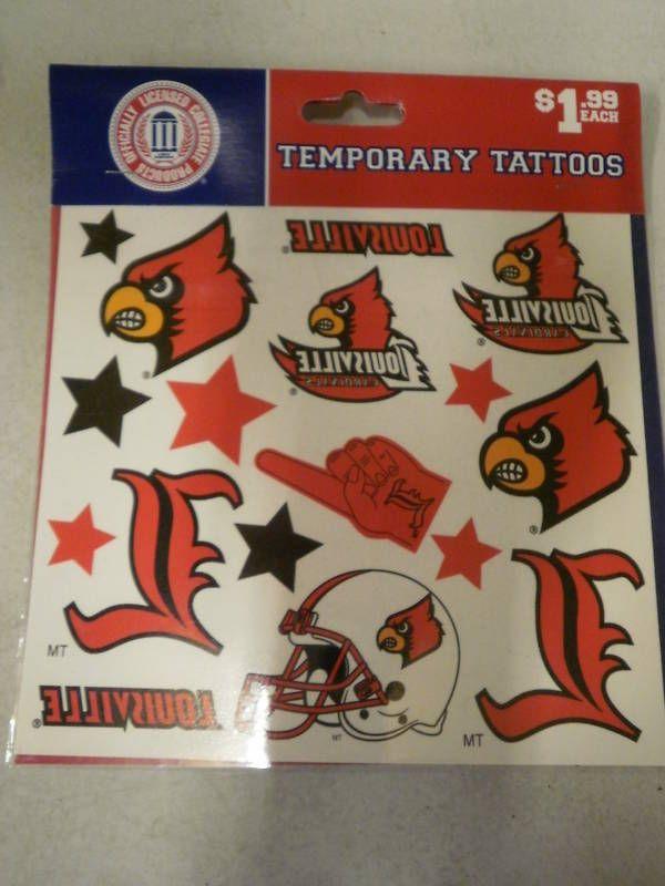 Louisville Cardinals Temporary Tattoos NEW Licensed Tattoo Sports NCAA Baseball #Louisville