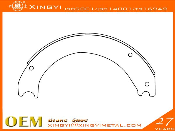 4725 Brake Shoe,brake pads We are manufacture of brake shoes, we covers Japanese, European, Korean,US trucks. •web welding wethod:5、7Segments,Full bead•High precision technics:Radius precision Effective throat>3.74•Heat treament:HRS:35-45 hardness•Surface treatment:0.08-0.15mmthick•180 to 360 hours salt spray test,fatigue test, tensile test, metallographic analysis, element test, chromatic aberration test•Reline able 5-6times reuse guranteed•Original place: CHINA…